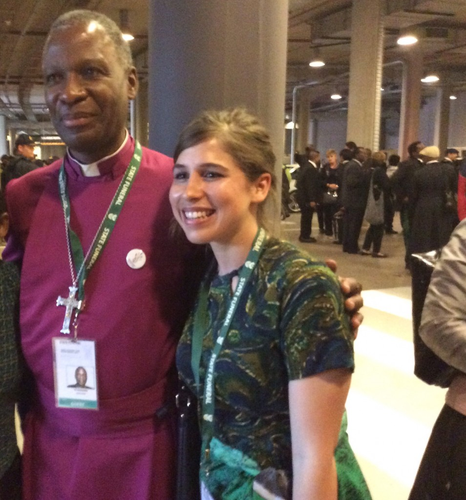 Marissa van Rensburg (SALO Project Officer) with the Archbishop Thabo Makgoba, taken at the Madiba memorial at the FNB stadium on Wednesday the 11th of December 2013