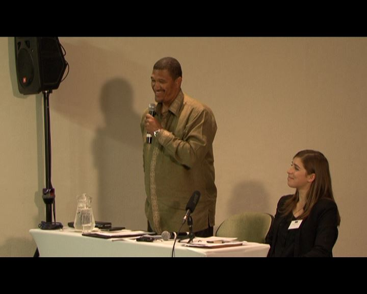 Left - The Hon. Marius Fransman, Deputy Minister of the Department of International Relations and Cooperation. Right - Marissa van Rensburg, SALO project officer