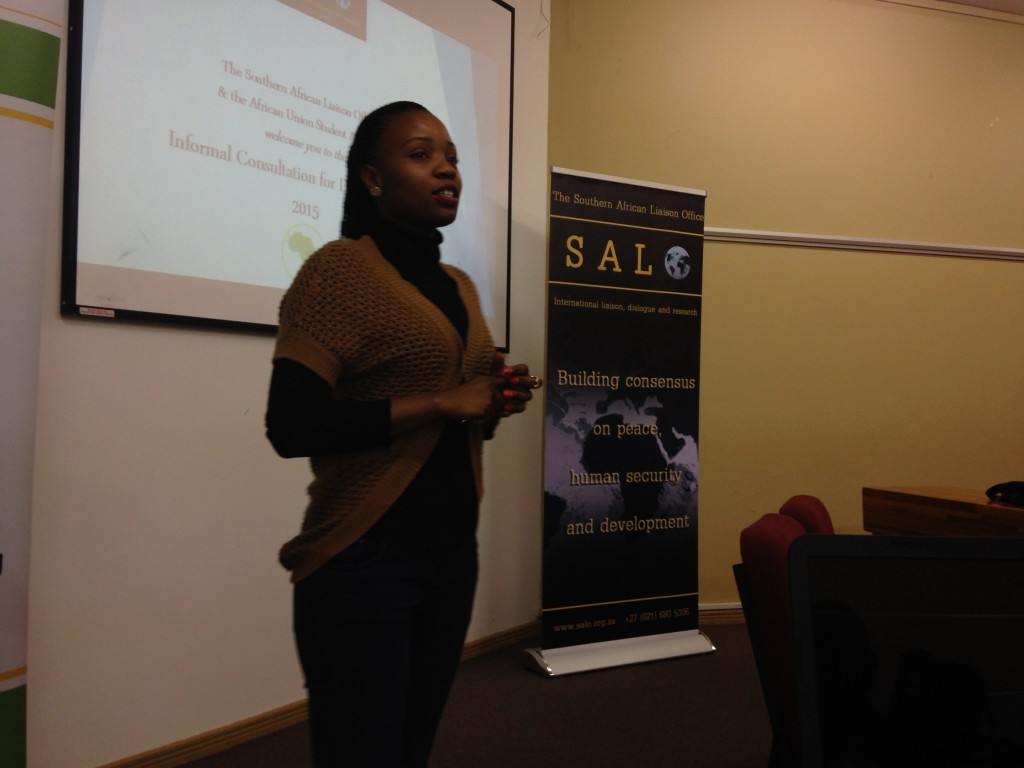 Thato Chabana, SALO's Coordination and Research Officer, facilitating the meeting