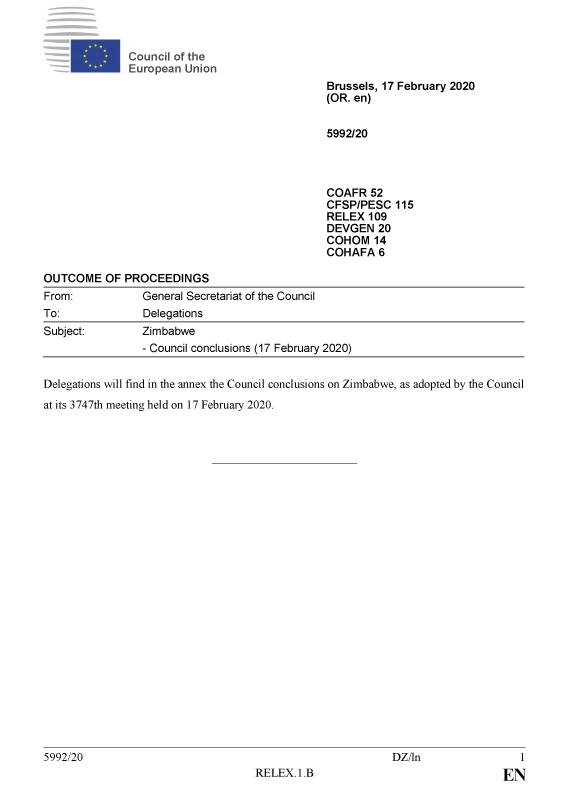 EU Council Conclusions on Zimbabwe