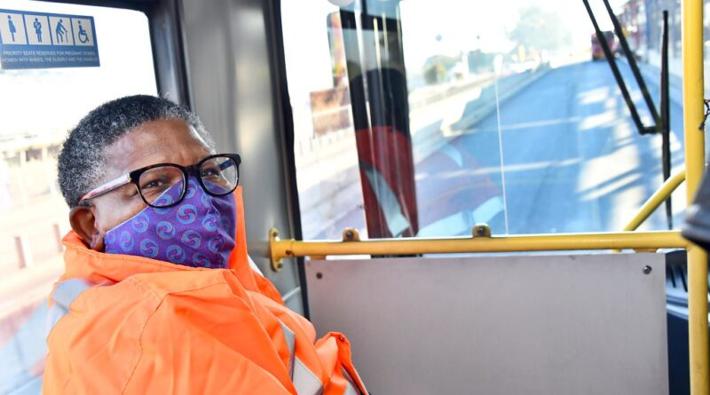 """Minister Fikile Mbalula inspects Rea-Vaya buses and stations as part of Coronavirus Covid-19 safety measures"" by GovernmentZA is licensed under CC BY-ND 2.0"